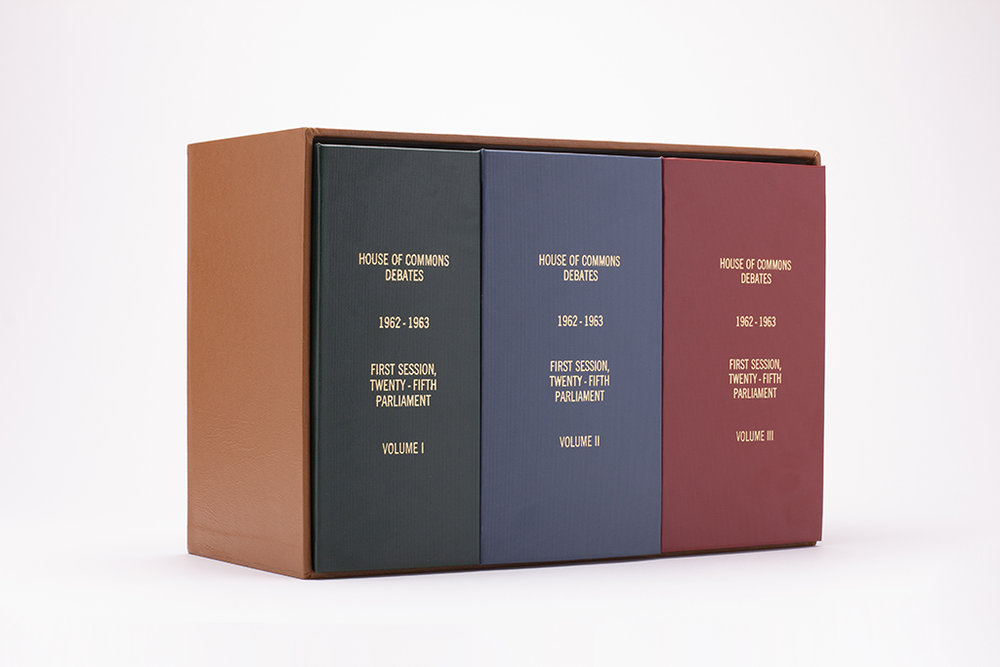 "House of Commons Debates, First Session, Twenty-Fifth Parliament, Volumes I, II, and III (2018). 10.5"" x 7"" x 15.5"".   Photo by Cory Ransom."