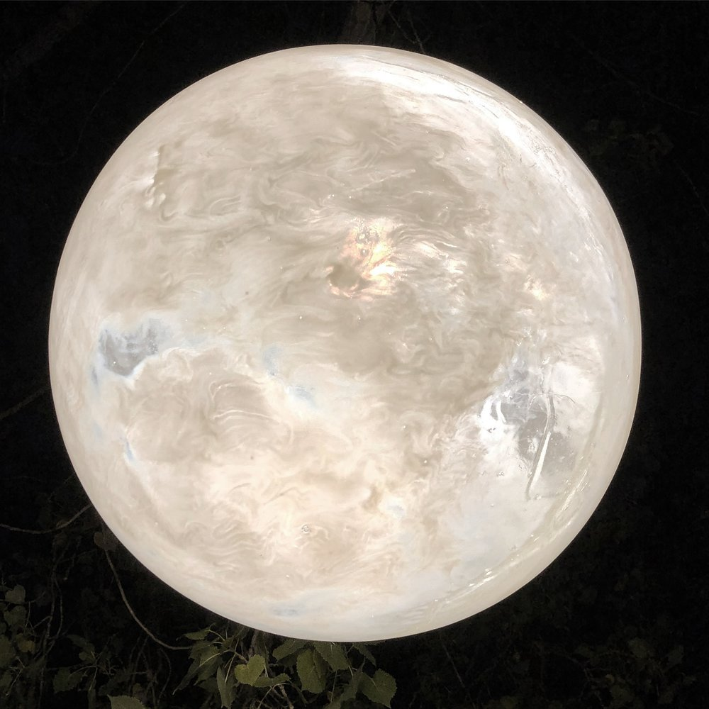Detail of Moon. Resin, lights, Nuit Blance, Winnipeg, Canada September 29, 2018. Photo courtesy of the artist.