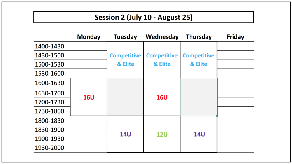 NOTE:  (1) Competitive & Elite schedules may be flexible during session 2        (2) If practices fall during a Holiday, they will be rescheduled to a different day during the week        (3) No practices will be held between August 1 - August 8th due to a scheduling conflict