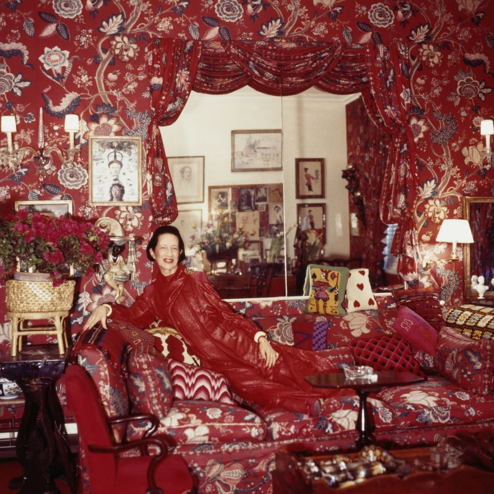 "Diana Vreeland in her living room, which she called ""A Garden in Hell,"" by Horst P. Horst, 1979."