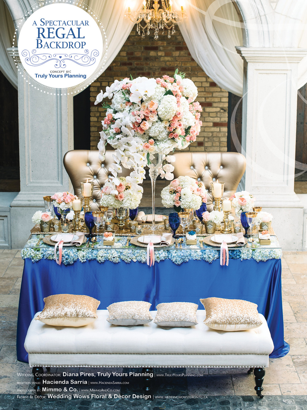 Photo by Mimmo & Co., Truly Yours Planning, Venue: Hacienda Sarria, Florist & Décor: Weddings Wows Floral & Décor Design, Chairs: Detailz, Flatware/Glassware: Chairman Mills, Chandeliers: Crystal. Cobalt blue satin