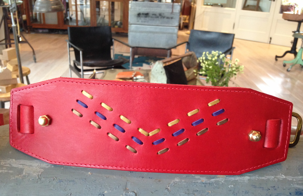 Red Leather Laced Waist Belt.JPG