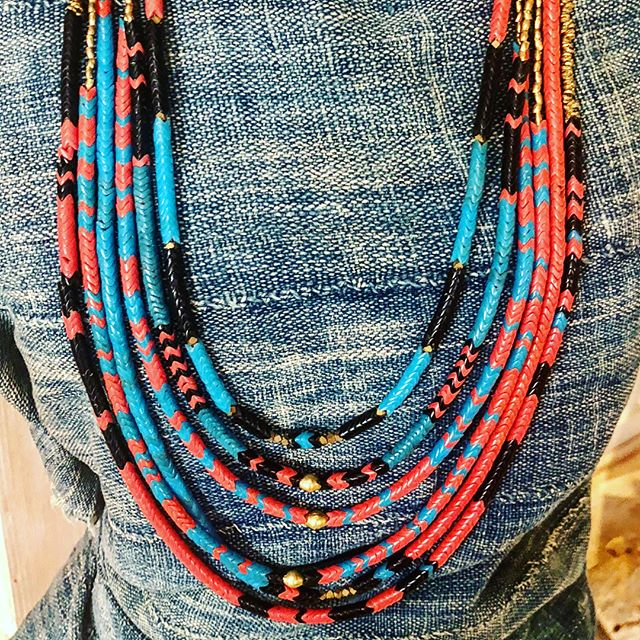 Our New Cuaté Snake Necklaces are a substantial statement that look ( and feel) so good stacked or single.  Made with  Vintage Nigerian Snake Beads and brass.. dreamy... Made in Tucson by @thetinmast  There is a pair of these babes on the auction block at the  @moca_tucson Genius Awards Gala next weekend too! . . . .  #ilovemast  #mercadosanagustin #masttucson #tucsonrules #tucsonboutiques #desertstyle #madeintucson #styleguide #shoplocal #greatgifts #handmade #style #shopsmall #handmadejewelry #jewelry #wildstyle #summerstyle #travelstyle #shoponline #takeitwithyou #unisexjewelry #africanbeads #nigerian  #vintagebeads #snakebeads  #wearthis #necklace #colorblock