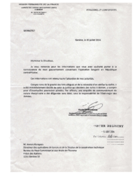 01 - CAR Letter from PR of France to Anders Kompass, OHCHR - July 30, 2014