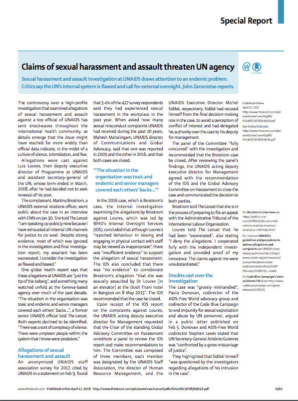 Lancet Special Report: Claims of sexual harassment and assault threaten UN agency