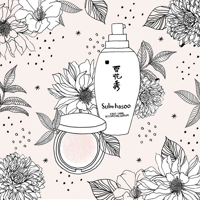 I have been LOVING my Perfecting Cushion Brightening Foundation from @sulwhasoo.us ! It has great SPF and applies so beautifully.  #beauty #makeup #sulwhasoo #beautyblog #skincare #illustration #flowers #design