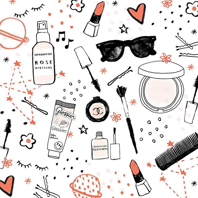 Some makeup faves: @glossier @herbivorebotanicals @chanelofficial @maccosmetics @deborahlippmann  #illustration #makeup #beauty #skinisin #skincare #beautyblog #design #style #pattern #lipstick