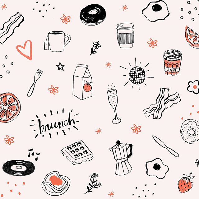 Brunch it up! What's your fave brunch spot? #illustration #food #nyceats #pattern #design #coffee #fruit #sundayfunday #brunch