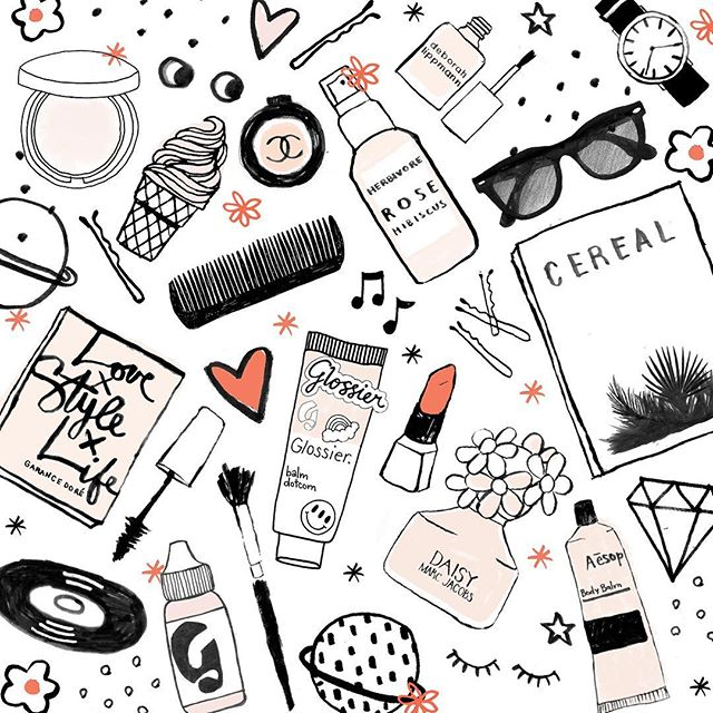 #tbt of some of my fave tiny drawings  @cerealmag @garancedore @glossier @aesopskincare @chanelofficial @maccosmetics @sephora @marcjacobsfragrances  #skinisin #skincare #makeup #beauty #illustration #print #magazine #creativityis