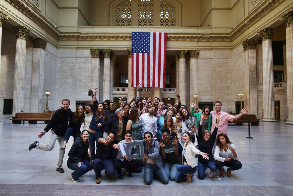 8/14/14  |The whole crew at Union Station in Chicago. (Credit: Tyler Metcalfe, National Geographic Travel)