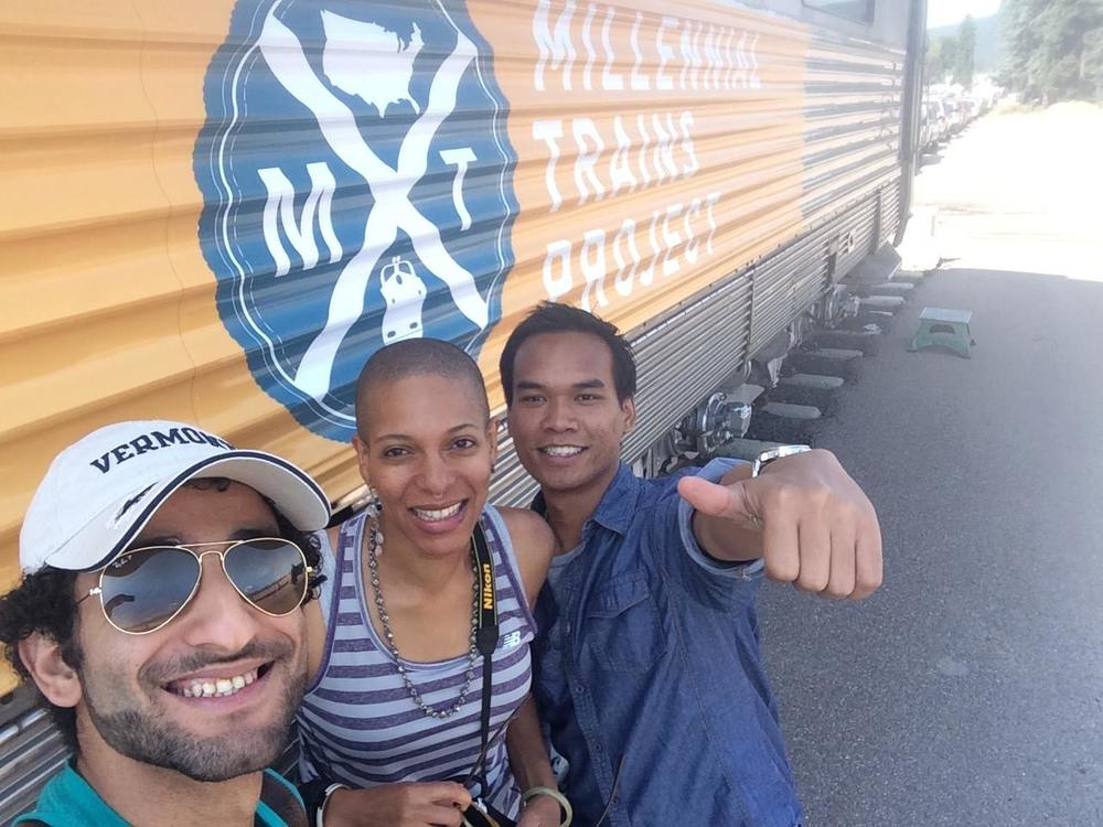 8/9/14  |MTP Participants Ammar Aqlan,PheOnixRuachShaddai, and Alyas Widita outside our train in Whitefish, MT.