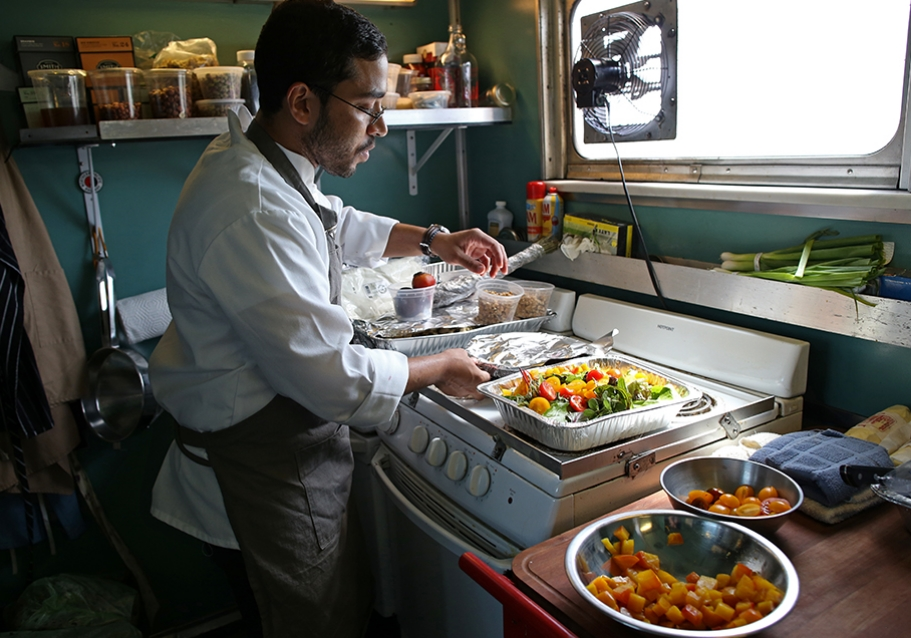 Our on-train chef prepares meals with ingredients sourced from local farmers and food purveyors in each city.