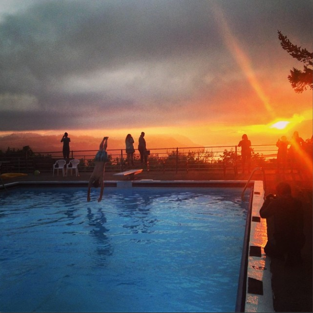 8/7/14  | Our group takes an early morning swim at sunrise over the Columbia River Gorge. Today is the first full day of our 2014 journey from Portland to NYC.