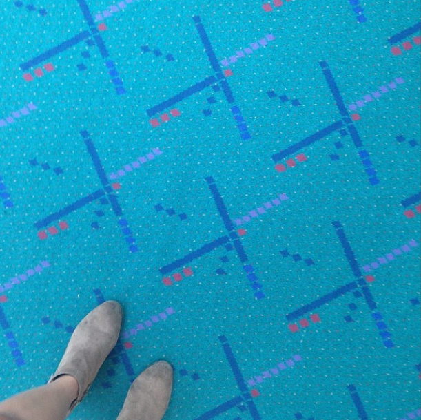 7/1/14  | Just landed in Portland, where we're doing some advance work for our next journey. This is the carpet at the airport. It is famous.