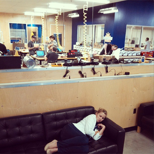 8/16/13  | Jessica, our director of communications, has been working so hard that she literally fell asleep in a 3D-printing factory during our visit to Pittsburgh.