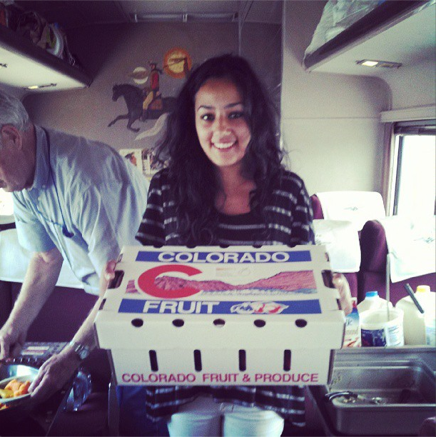 8/10/13  | Just entered Colorado and we were met by Daren Cole of Powderhorn Ski Mountain, who handed off these wonderful fresh peaches to our Chief of Staff, Sonia, as a welcome to this beautiful state.