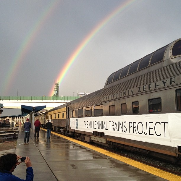 8/10/13  | Upon arrival in Denver, a double rainbow formed atop our caravan of rail cars. We are not making this up!! :)