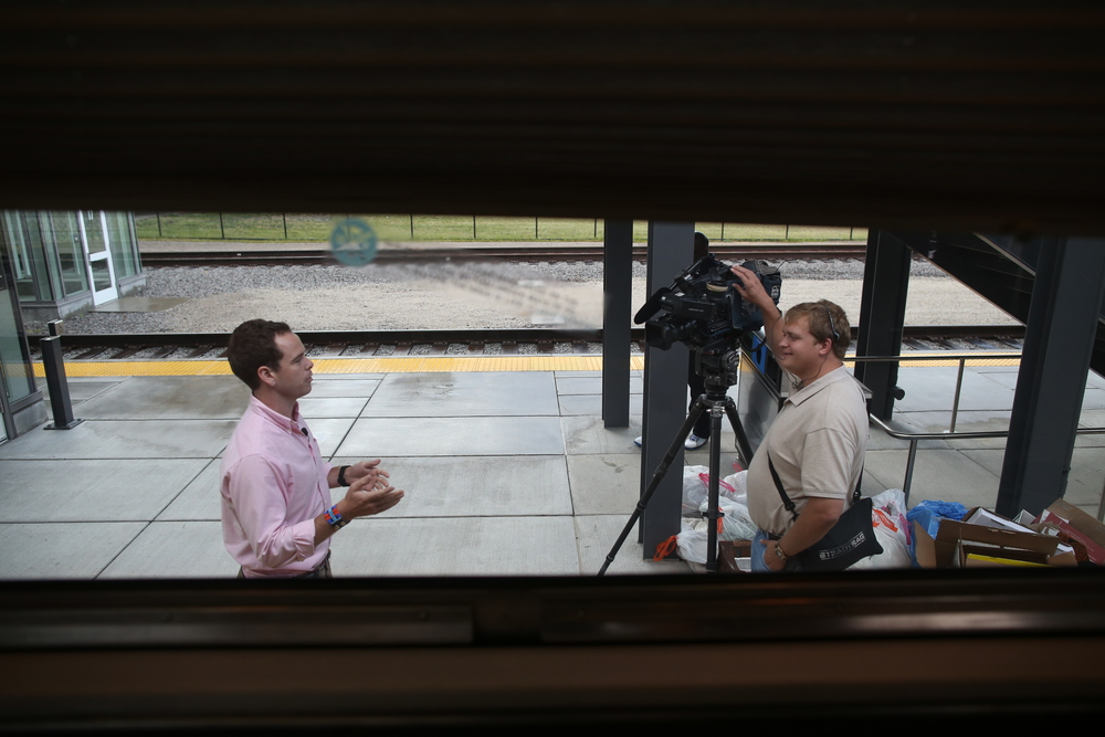 8/11/14  | MTP Founder and CEO Patrick Dowd is interviewed by the local ABC station outside our train in St. Paul, MN. (Credit: Tyler Metcalfe, National Geographic Travel)