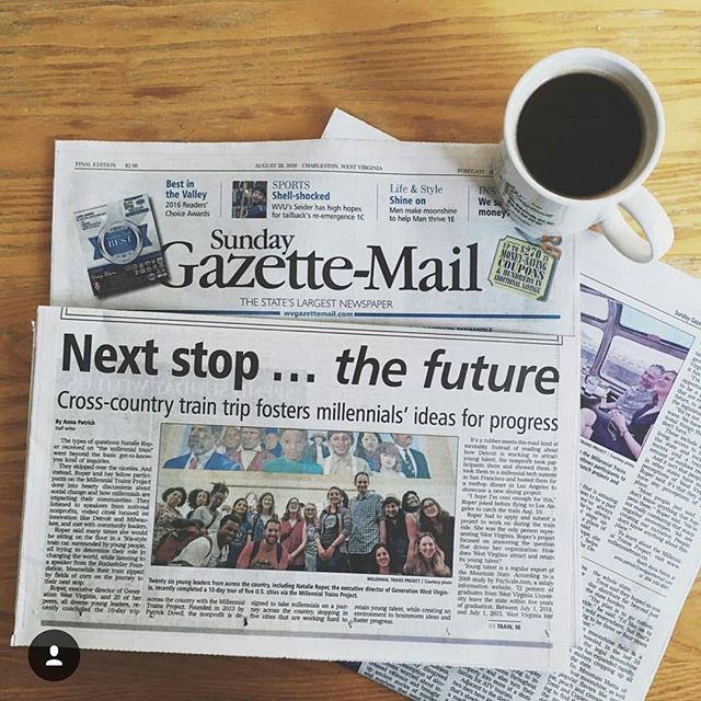 Must-read for this Sunday morning is the Charleston Post-Gazette's fantastic profile of how @natalie.roper of @generationwv used her journey to discover what West Virginia can learn from strategies that other regions use to attract and retain young talent. Link in our bio!  #MTPtrain #NBCUchangemakers @rockefellerfdn