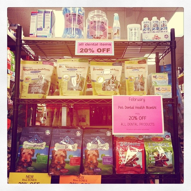 Valentine's Day may be over, but Pet Dental Health Month continues until March 1st! We have large selection of healthy dental chews, sprays, supplies and more!