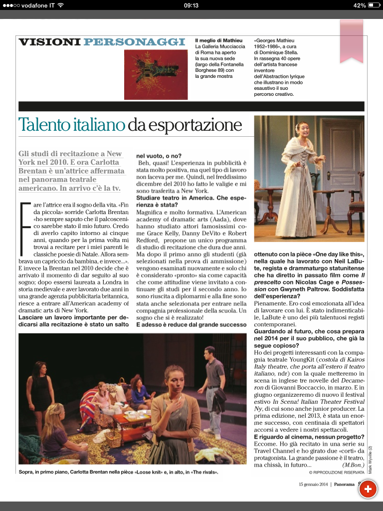 "Interview in ""Panorama,"" January 2014"