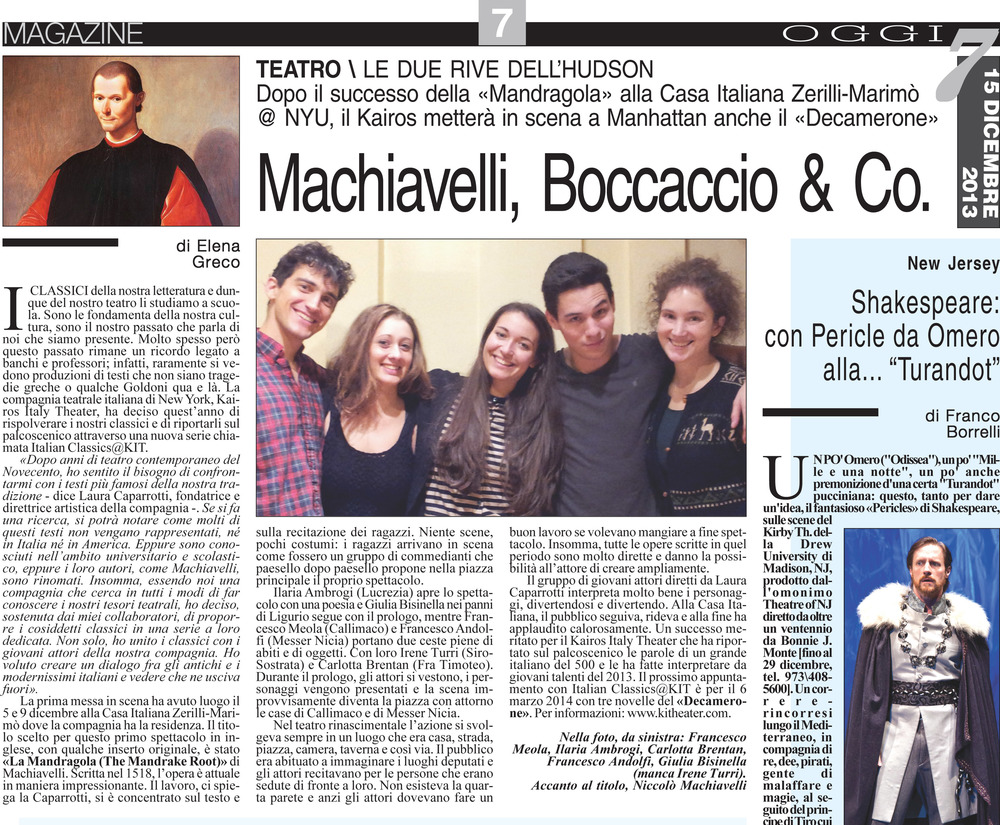 From 'Oggi7',   America Oggi's   weekend magazine insert, 15th December 2013