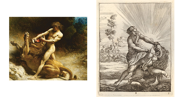 Samson (Left) Forcing Lion's Mouth Open, David (Right) Removing Lamb from Lion's Teeth; Both taken from Google Images