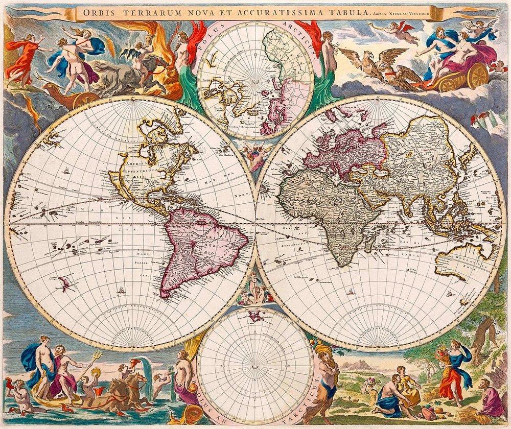 Old World Map by Nicolaes Visscher, 1658