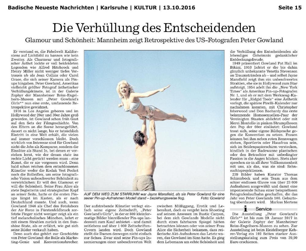 Badische Neuste Nachrichten, 13.10.2016