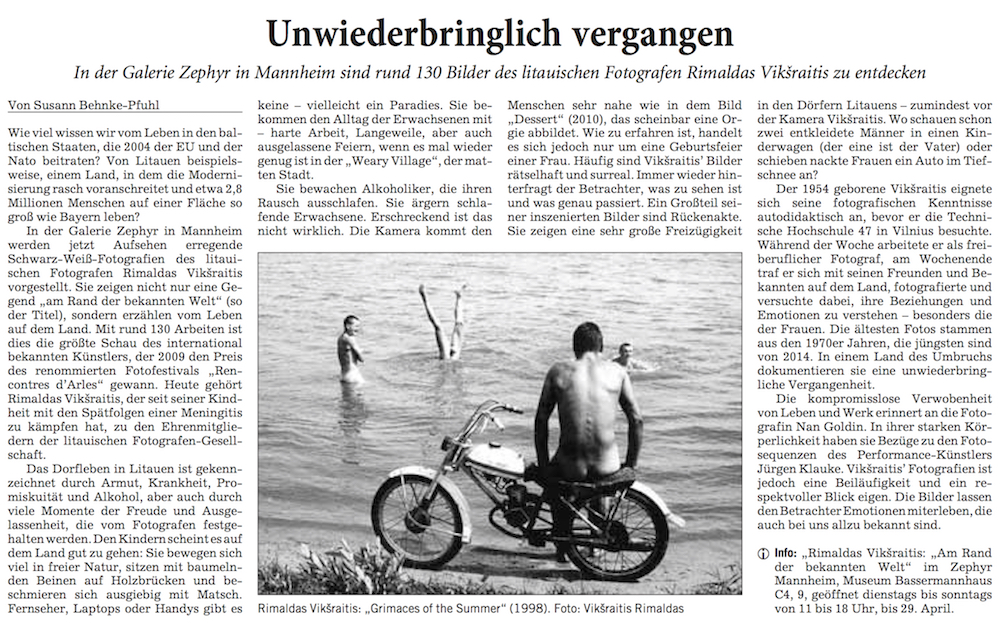 07.02.2018  Rhein-Neckar-Zeitung  Unwiederbringlich vergangen. In der Galerie Zephyr sind rund 130 Bilder des litauischen Fotografen Rimaldas Vikšraitis zu entdecken.