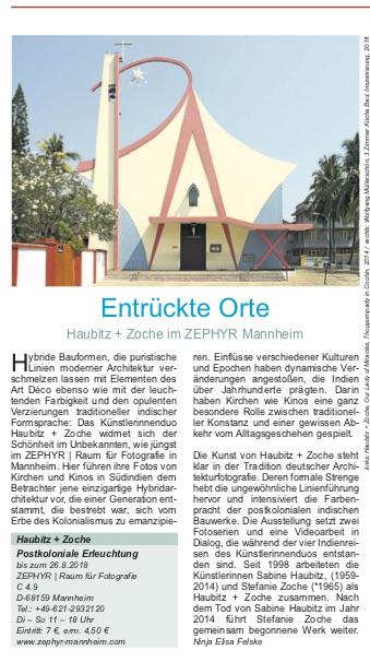 Juli/August  kunst:art  62: Entrückte Orte. Haubitz + Zoche im ZEPHYR Mannheim.  download pdf