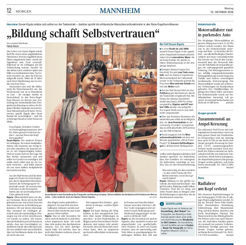 """15.10.2018  Mannheimer Morgen : Bildung schafft Selbstvertrauen. Interview mit Susan Kigula im Rahmen der Ausstellung von Jan Banning """"Red Utopia""""."""