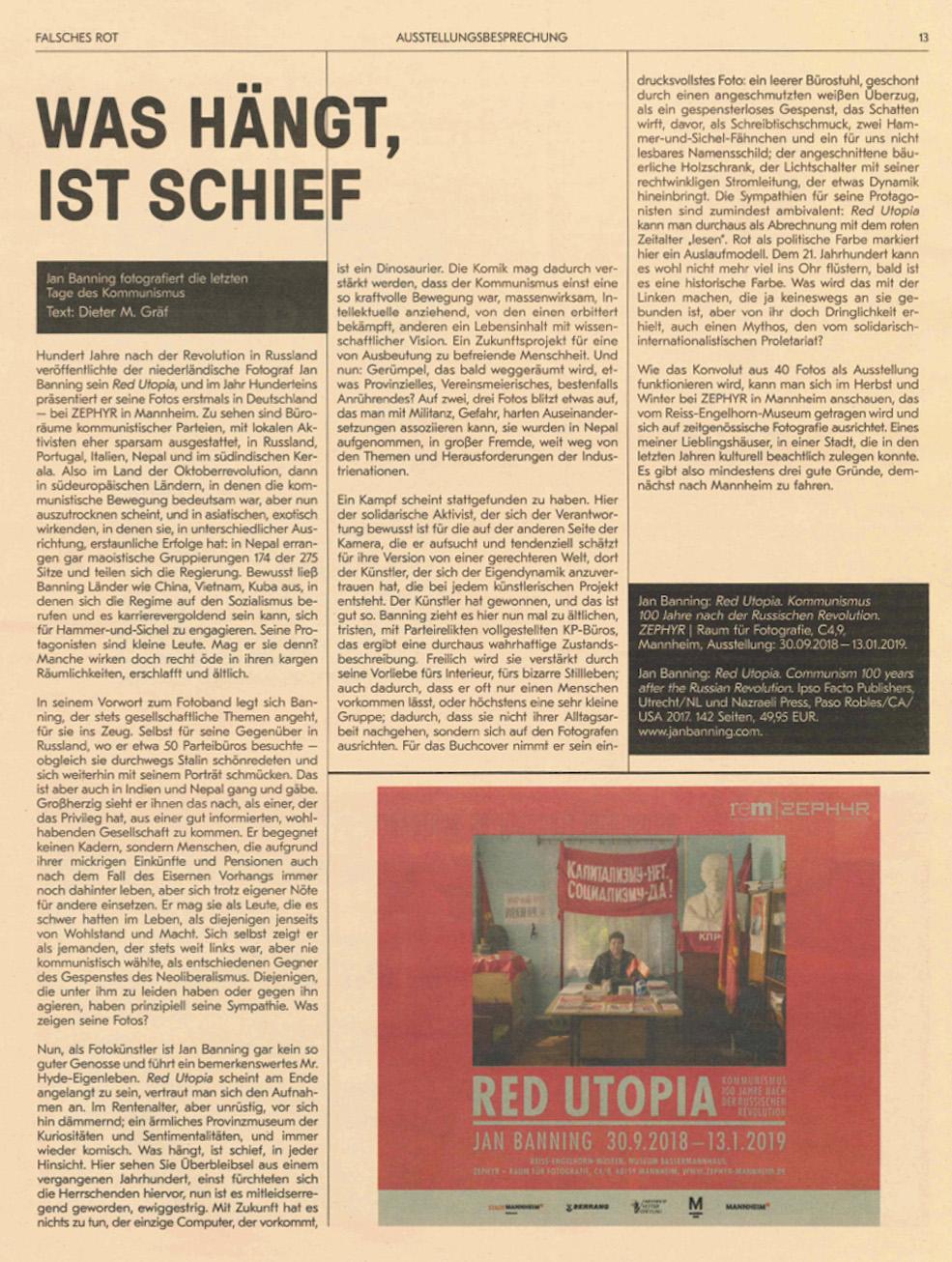 """10/2018:  Dieter M. Gräf : Was hängt ist schief. Zeitung anlässlich der Ausstelung """"Falsches Rot"""" im Literaturhaus Stuttgart."""