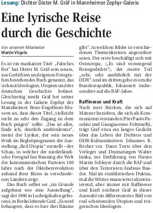 27.10.2018  Mannheimer Morgen : Eine lyrische Reise durch die Geschichte.