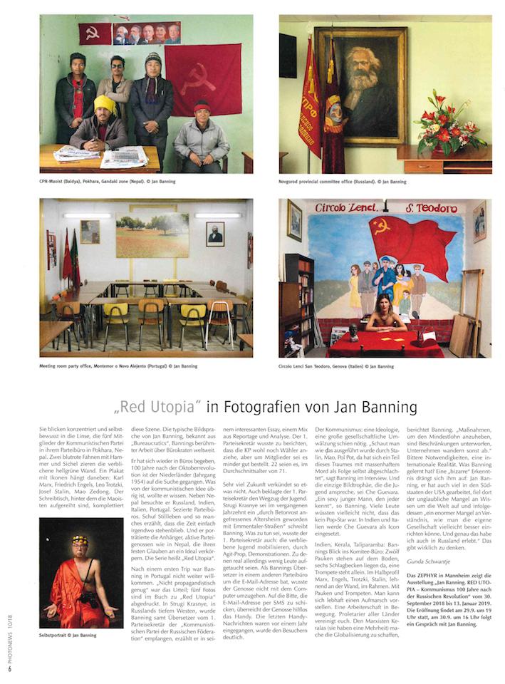 """10/18  Photonews:  """"Red Utopia"""" in Fotografien von Jan Banning"""
