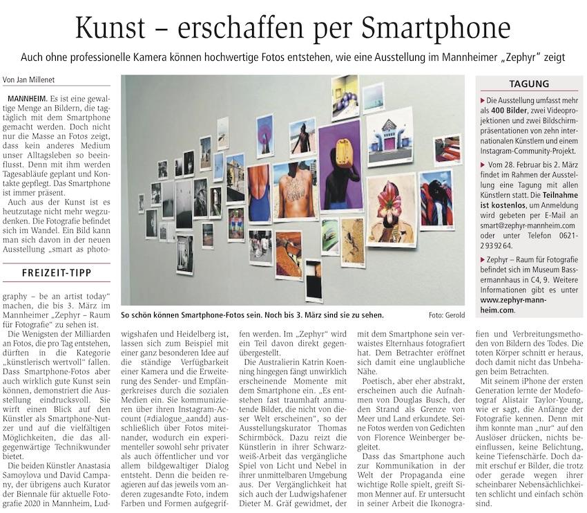 06.02.2019  Wormser Zeitung : Jan Millenet: Kunst – erschaffen per Smartphone.