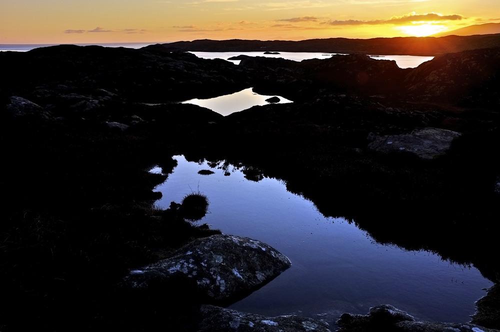 Looking across Loch na Bearnil, Àird Bhi, Maol Mòr and Loch Sgadabhagh to Àird Bheag, Fuji X-100