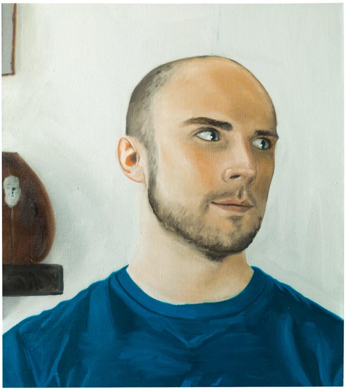 Evan with Greek Miniature , 2015. Oil on linen, 27x24in.