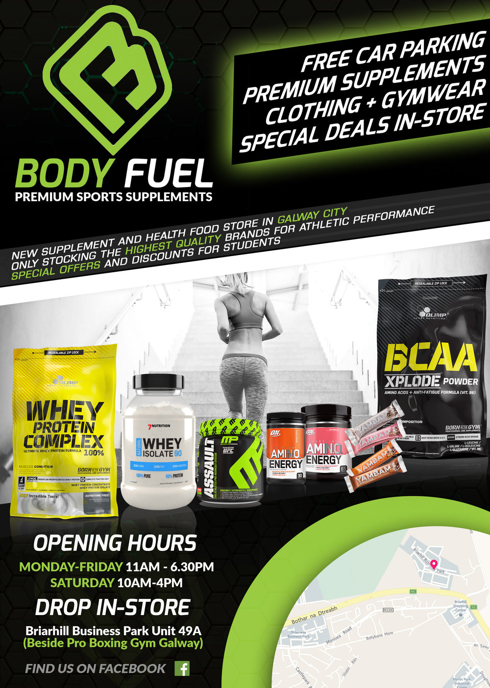 Promotional Leaflet for Sports Supplement Brand and Retail Store