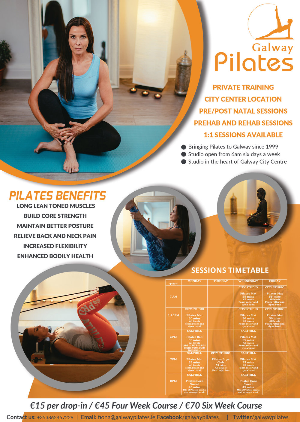 Promotional Leaflet for Pilates centre. Photography and graphic design part of a complete commission