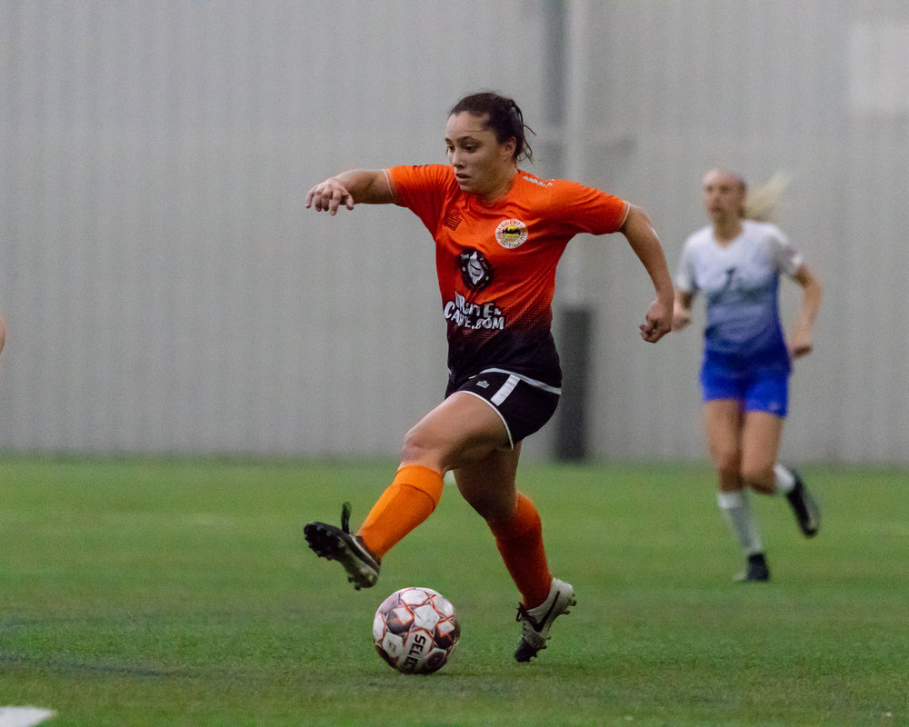 Maddison Schupbach with some fancy footwork with the ball! Detroit Sun FC defeat the Michigan Legends 4 - 1 at Ultimate Soccer Arena 5/11/2018