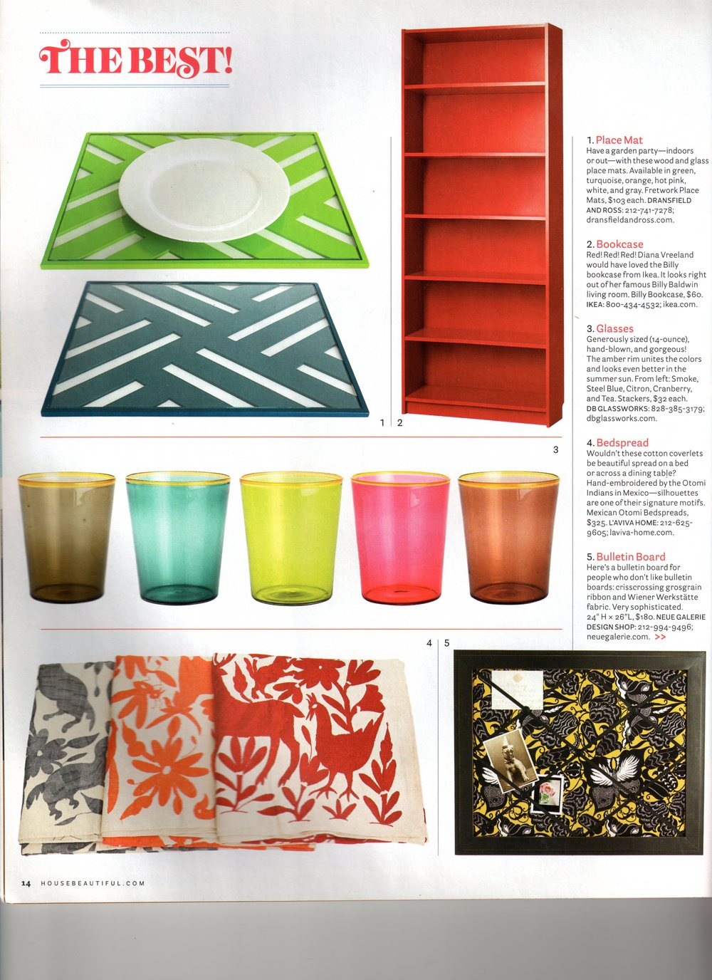 "House Beautiful, August 2009 ""The Best!"" section, page 14."