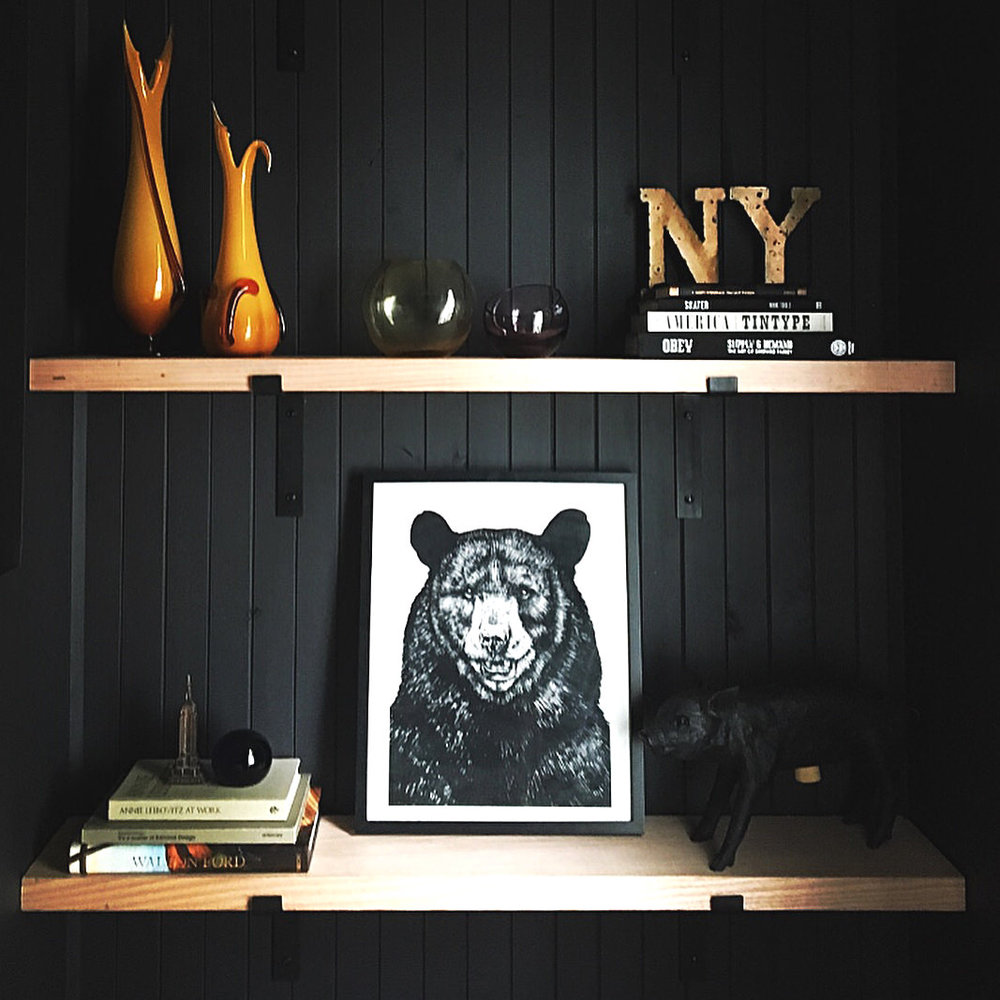 Black Steel Shelf Brackets On Black Wall With Bear Painting