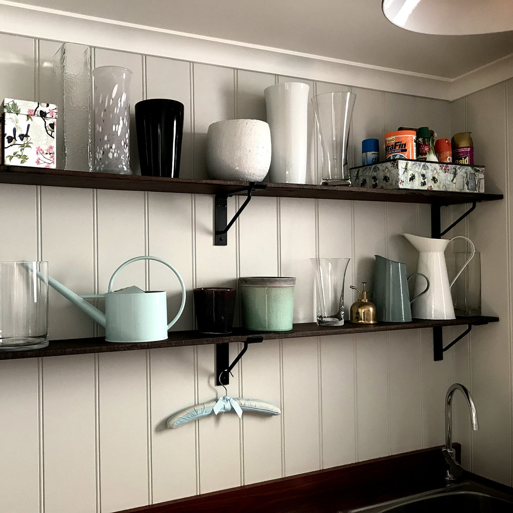 Custom No.5 Shelf Bracket In Laundry Room