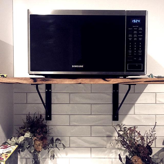 Custom Shelf Bracket With Microwave On Wood Shelf
