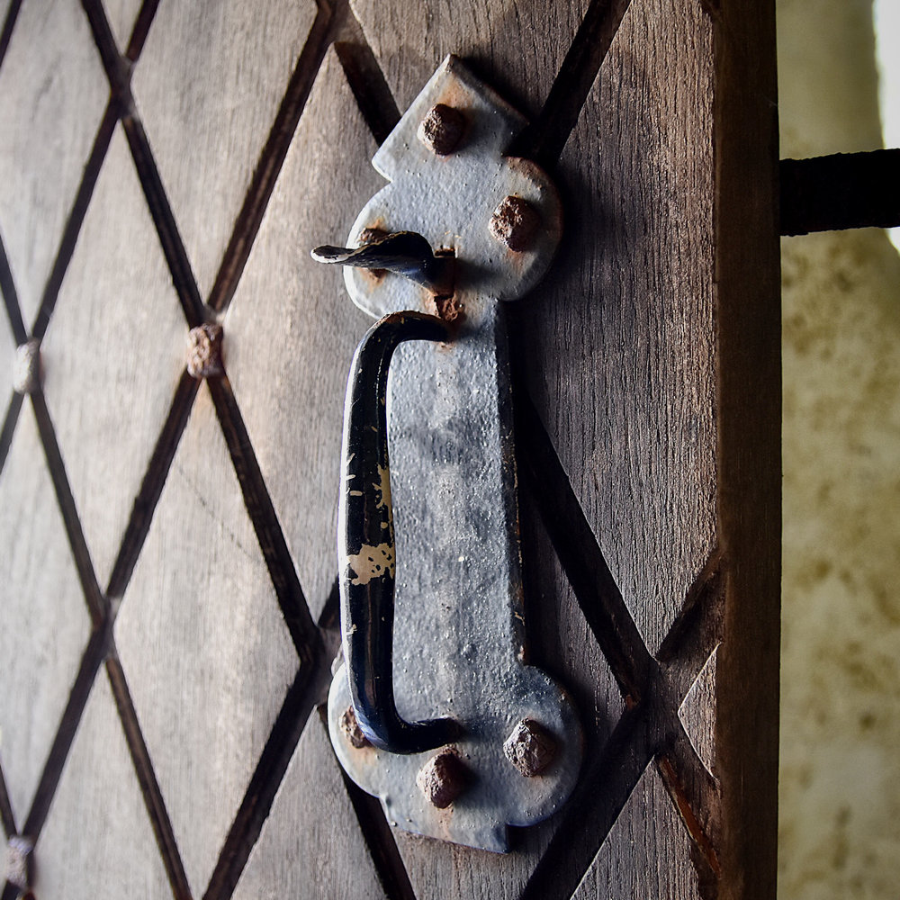 Medieval Door Handle With Square Head Bolt in Scottish Castle
