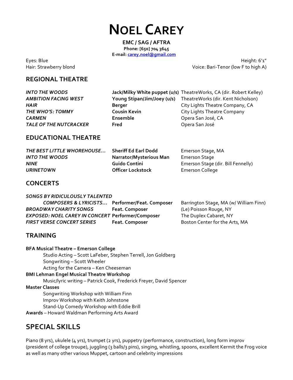 Resume — Noel Carey