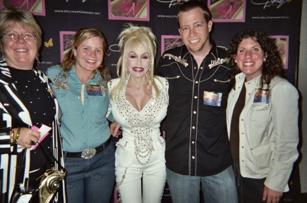 Terry Beal, me, Dolly Parton, Todd Coats, Lindsey Bennett.  Many of you are familiar with the photo of Todd/me with Dolly that is part of our disinterested series.