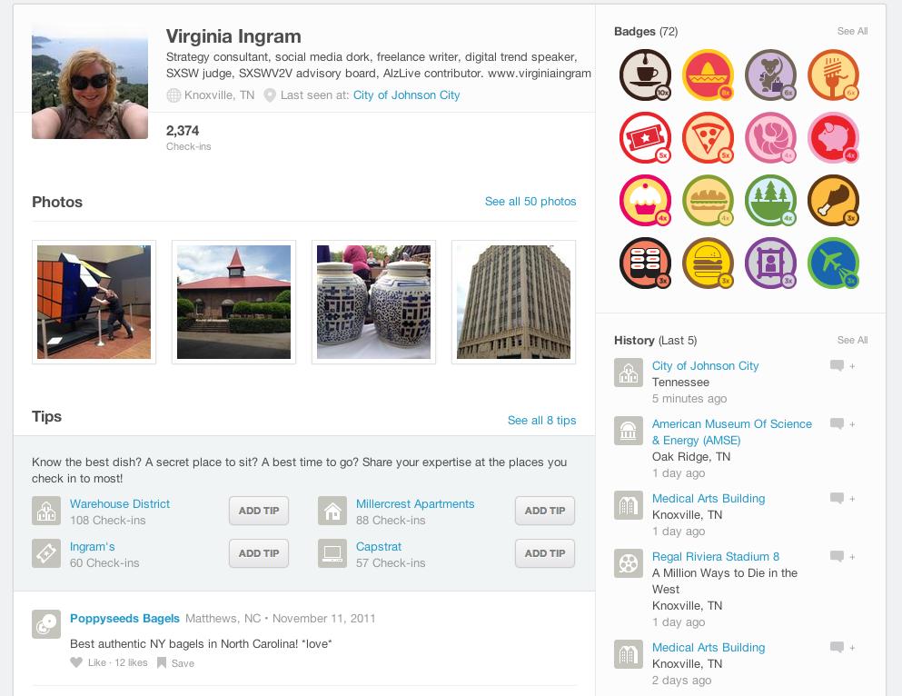 My Foursquare profile page.