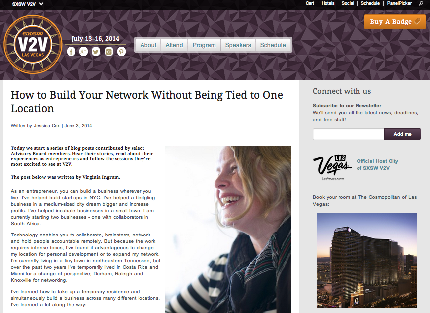 How to Build Your Network Without Being Tied to One Location on the SXSW V2V website.